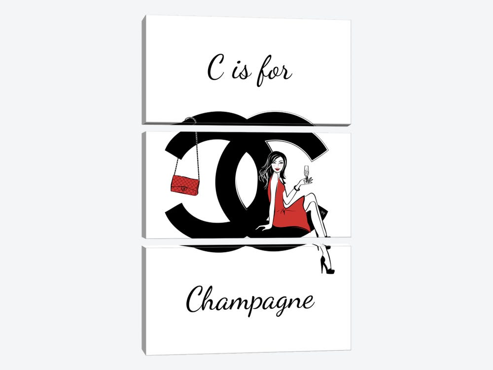 CC: C Is For Champagne by Martina Pavlova 3-piece Canvas Art
