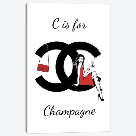 CC: C Is For Champagne 3-Piece Canvas #PAV56} by Martina Pavlova Canvas Art