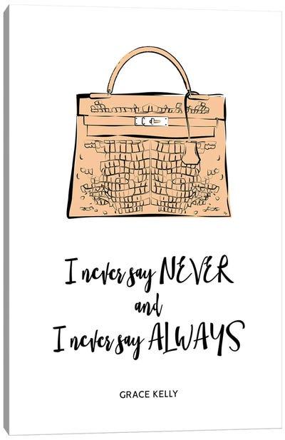 Grace Kelly Bag Quote Canvas Art Print
