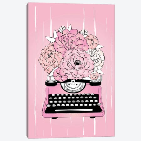 Floral Typewriter Canvas Print #PAV597} by Martina Pavlova Canvas Artwork
