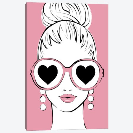 I See Love Pink Canvas Print #PAV599} by Martina Pavlova Canvas Print