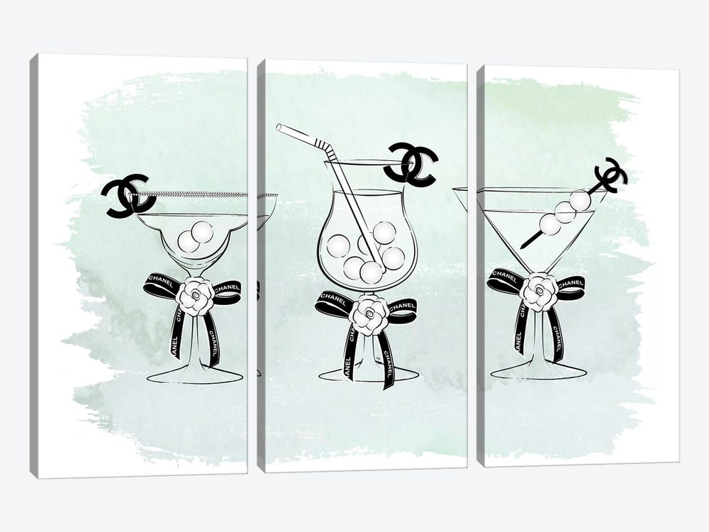Chanel Drinks by Martina Pavlova 3-piece Art Print