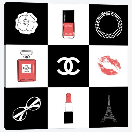 Chanel Collage Canvas Print #PAV611} by Martina Pavlova Canvas Wall Art
