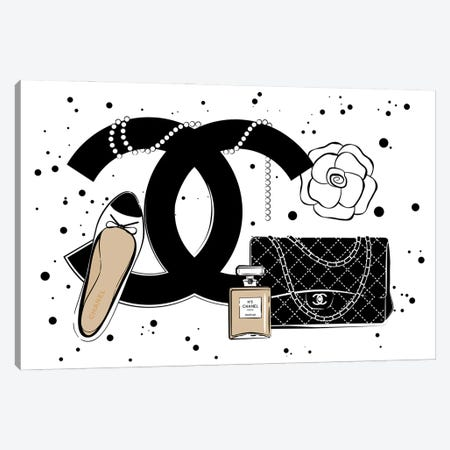 Chanel Items Canvas Print #PAV613} by Martina Pavlova Canvas Wall Art