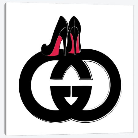 GG Logo Heels 3-Piece Canvas #PAV617} by Martina Pavlova Art Print