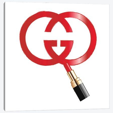 Gucci Logo Lipstick Canvas Print #PAV619} by Martina Pavlova Canvas Art