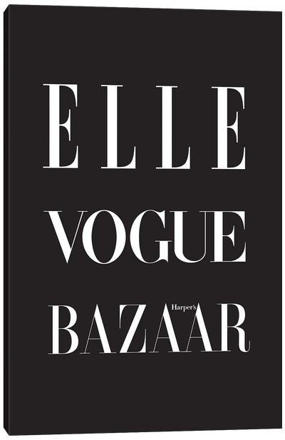 Fashion Magazines Black Canvas Art Print
