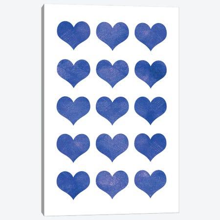 Blue Hearts Canvas Print #PAV639} by Martina Pavlova Canvas Artwork