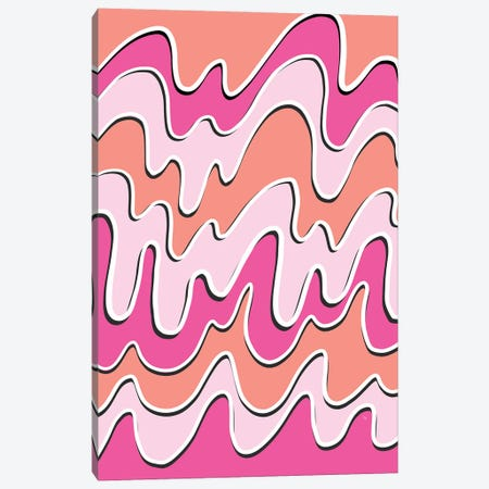 Retro Pink Waves Canvas Print #PAV649} by Martina Pavlova Canvas Print