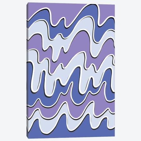 Retro Purple Waves Canvas Print #PAV650} by Martina Pavlova Canvas Art