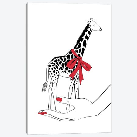 Holding Giraffe Canvas Print #PAV682} by Martina Pavlova Canvas Art Print