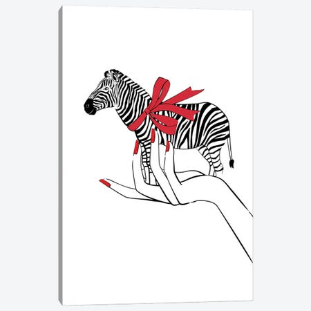 Holding Zebra Canvas Print #PAV683} by Martina Pavlova Canvas Print