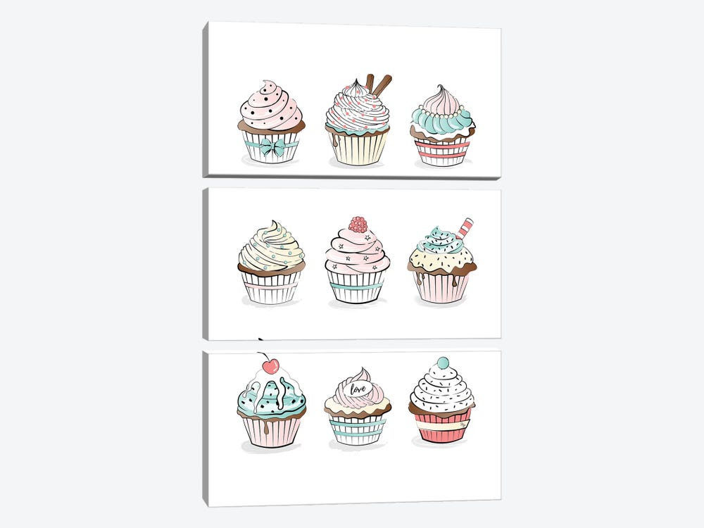 Cupcakes by Martina Pavlova 3-piece Canvas Print