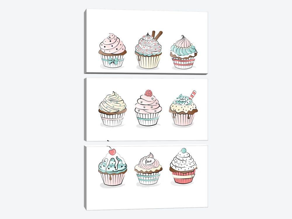 Cupcakes by Martina Pavlova 3-piece Canvas Print