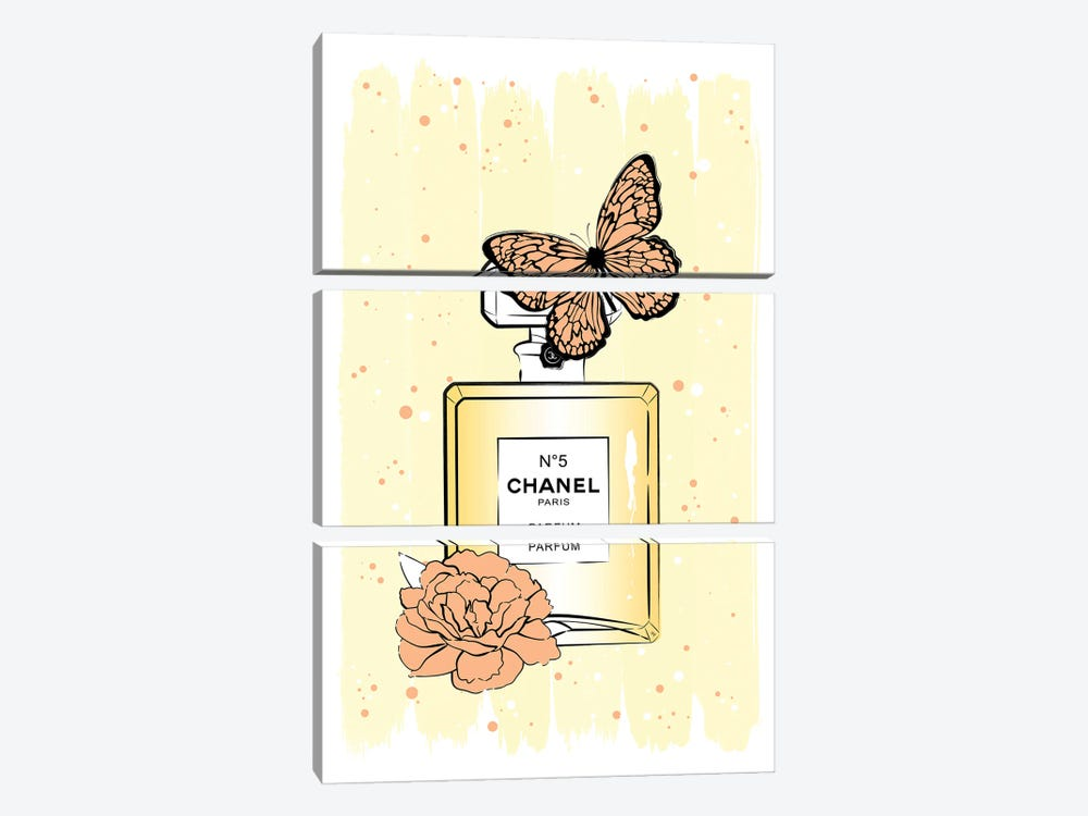 Chanel Butterfly by Martina Pavlova 3-piece Art Print