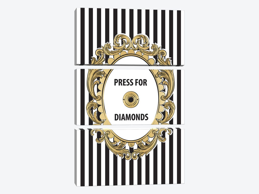 Diamonds Button by Martina Pavlova 3-piece Canvas Art