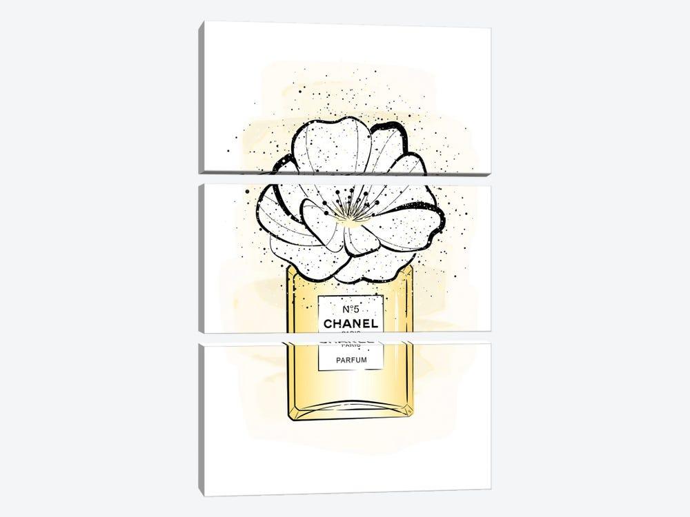 Chanel Flower by Martina Pavlova 3-piece Canvas Artwork
