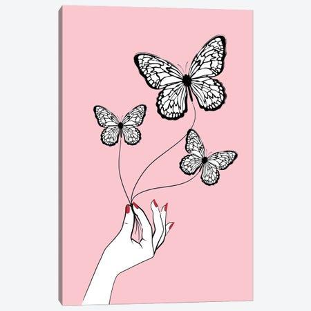 Butterfly Game Pink Canvas Print #PAV719} by Martina Pavlova Canvas Art Print