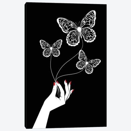 Butterfly Game Black Canvas Print #PAV720} by Martina Pavlova Canvas Wall Art