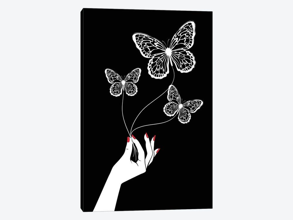 Butterfly Game Black by Martina Pavlova 1-piece Art Print