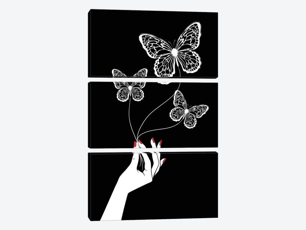 Butterfly Game Black by Martina Pavlova 3-piece Canvas Art Print
