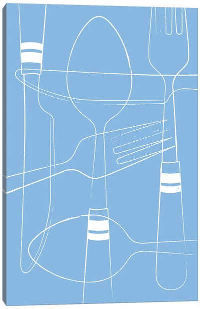 Blue Cutlery Canvas Art Print