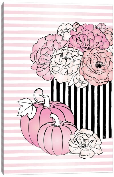 Floral Pumpkins Canvas Art Print
