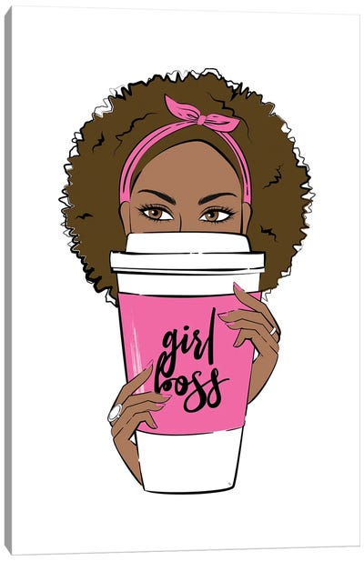 Girl Boss Coffee Canvas Art Print