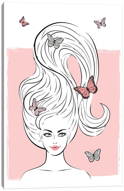 Big Hair Girl Canvas Art Print
