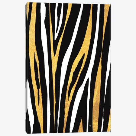 Golden Zebra Canvas Print #PAV789} by Martina Pavlova Canvas Wall Art