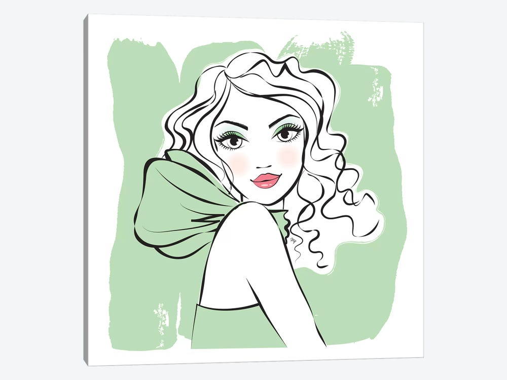 Green Girl by Martina Pavlova 1-piece Canvas Art Print
