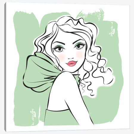 Green Girl Canvas Print #PAV82} by Martina Pavlova Canvas Art