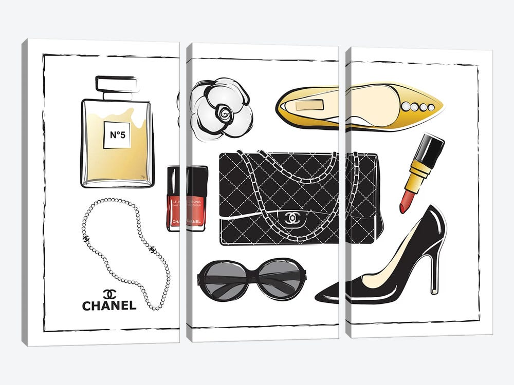 Chanel Accessories by Martina Pavlova 3-piece Canvas Artwork
