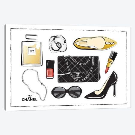 Chanel Accessories Canvas Print #PAV8} by Martina Pavlova Canvas Wall Art