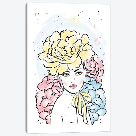 Peony Girl Canvas Print #PAV94} by Martina Pavlova Canvas Artwork