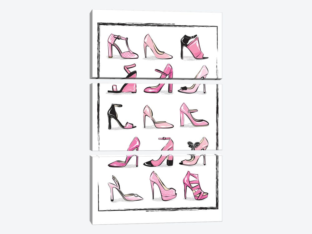 Pink Shoes by Martina Pavlova 3-piece Canvas Wall Art