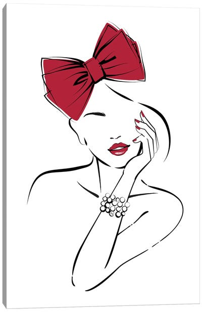 Red Bow Canvas Art Print