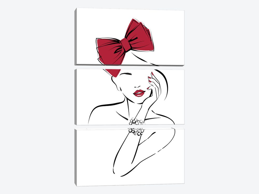 Red Bow by Martina Pavlova 3-piece Canvas Print