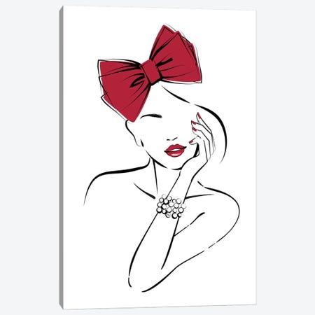 Red Bow Canvas Print #PAV97} by Martina Pavlova Canvas Wall Art