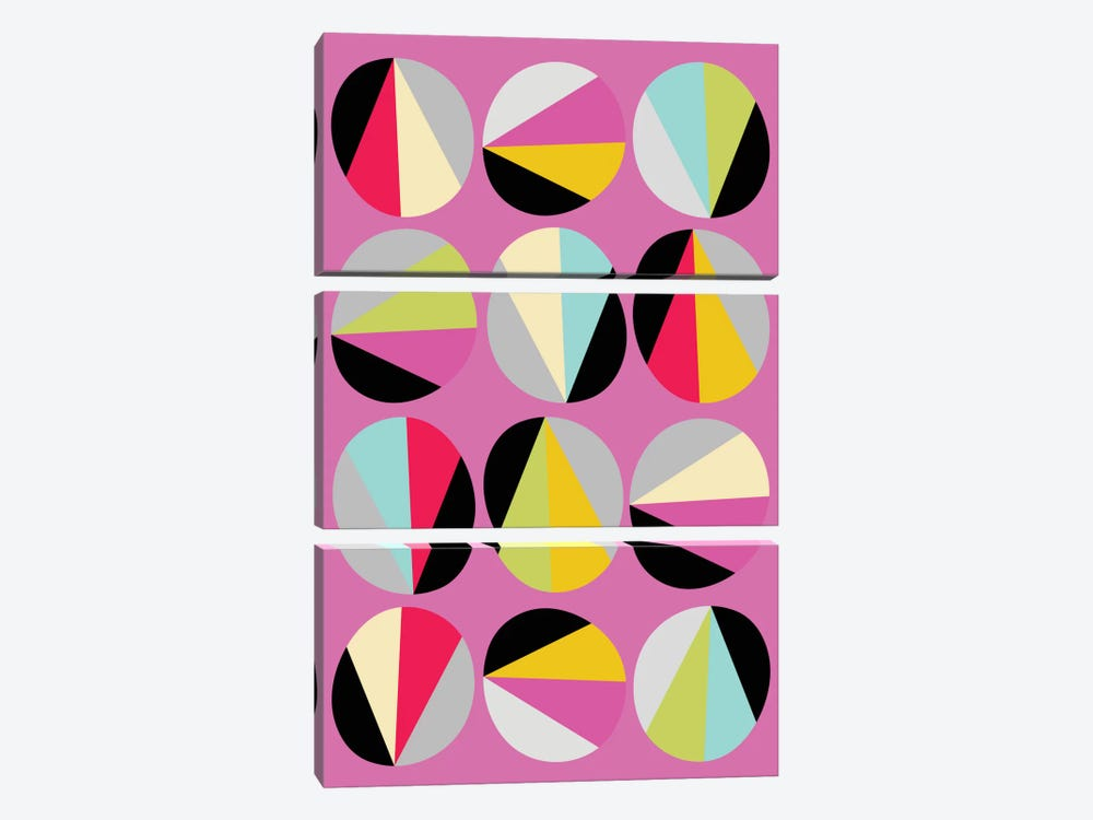 Circles Game III by Susana Paz 3-piece Canvas Wall Art