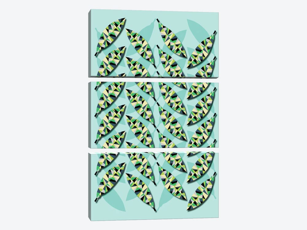 Geometric Leaves by Susana Paz 3-piece Canvas Artwork