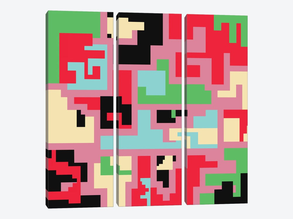 Kind Of Tetris by Susana Paz 3-piece Canvas Wall Art