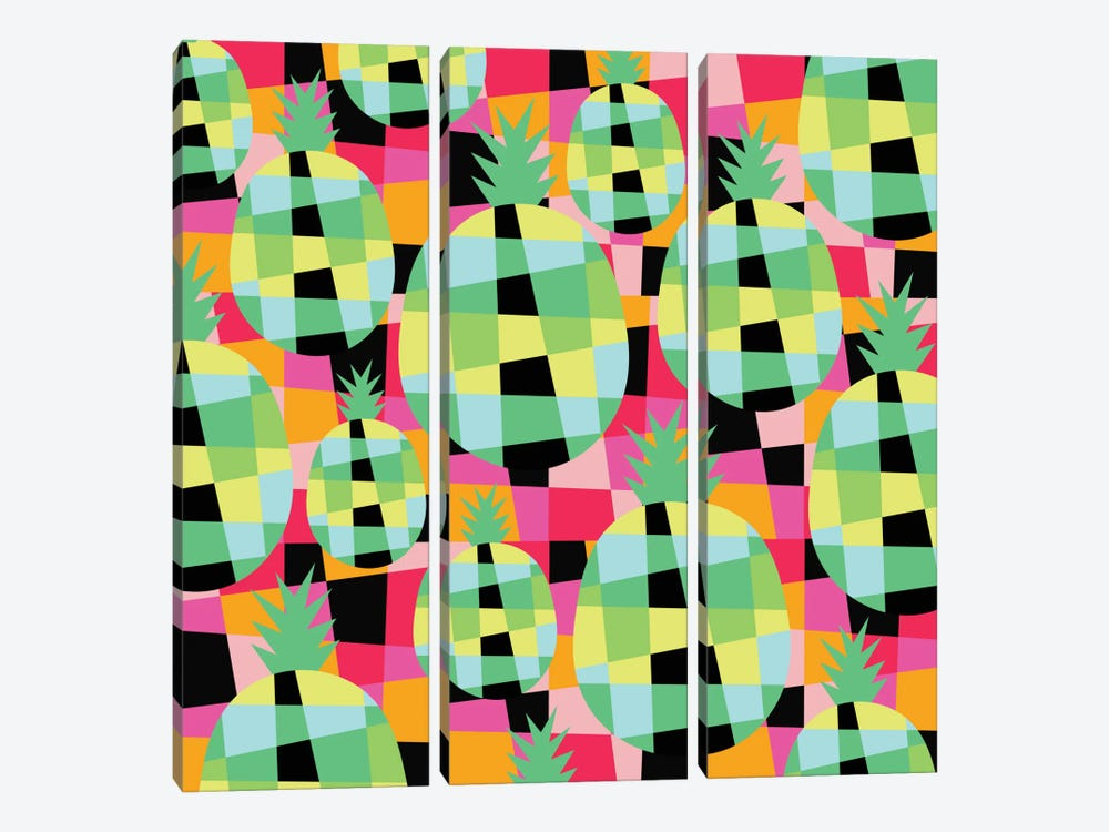 Pop-Pineapple by Susana Paz 3-piece Canvas Wall Art