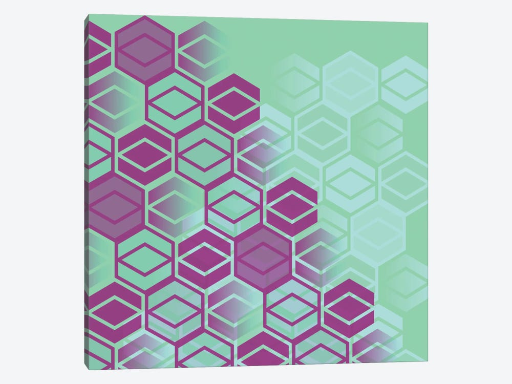 Purple On Mint 1-piece Canvas Art
