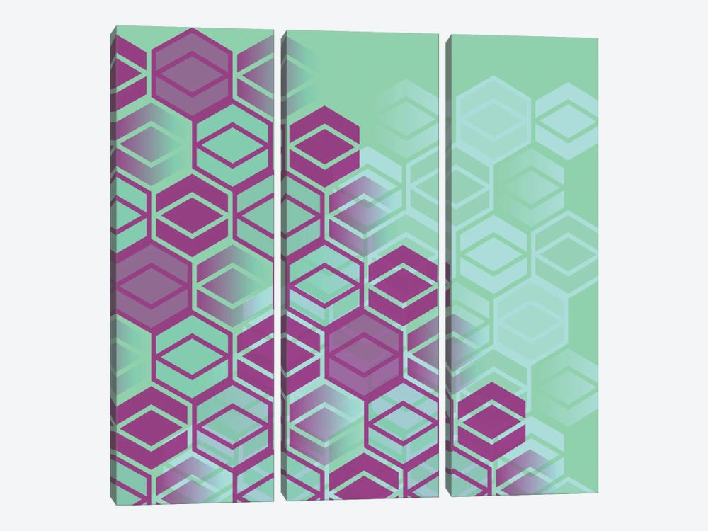 Purple On Mint by Susana Paz 3-piece Canvas Artwork