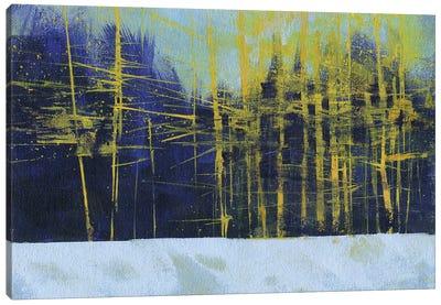Golden Winter Pines Canvas Art Print