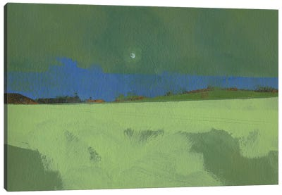 Green Moon Rising Canvas Art Print
