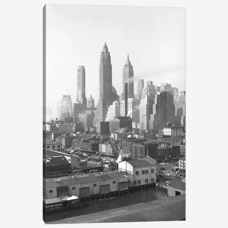 1947 View II, Lower Manhattan Skyline As Seen From The Brooklyn Bridge, New York City, New York, USA Canvas Print #PBE10} by Peter Bennett Canvas Artwork