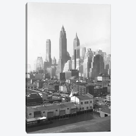 1947 View II, Lower Manhattan Skyline As Seen From The Brooklyn Bridge, New York City, New York, USA Canvas Print #PBE10} by Peter Bennett Canvas Artwork