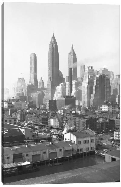 1947 View II, Lower Manhattan Skyline As Seen From The Brooklyn Bridge, New York City, New York, USA Canvas Art Print